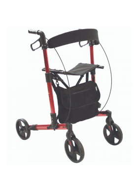 Rollator 4 roues pliable rouge